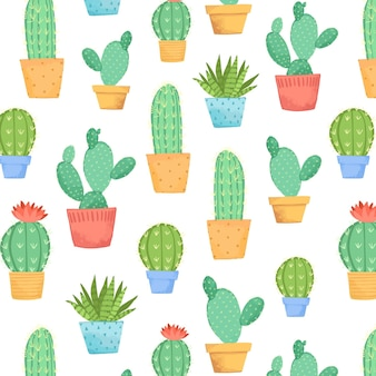 Cacti in pot pattern collection