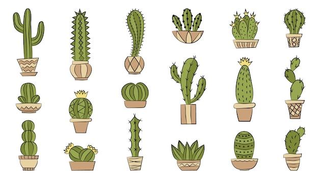 Cacti in pots set Premium Vector