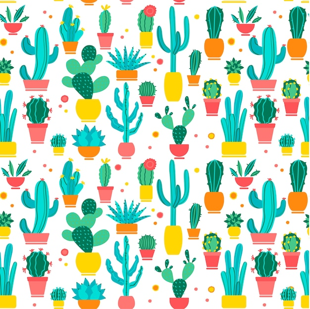 Cacti seamless pattern set. hand drawn doodle. hand drawn doodle patterns of different shape cactus botany collection on white background. dessert house botanical water absorbing plants.