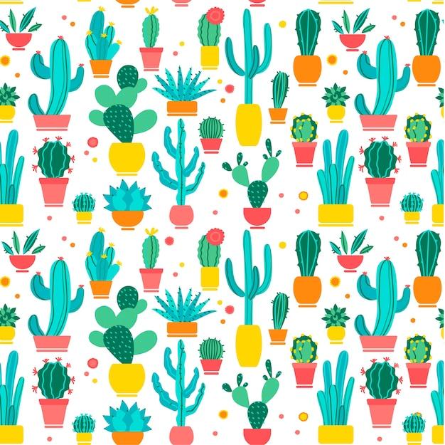 サボテンのシームレスなパターンセット。手描き落書き。手は、白い背景にさまざまな形のサボテン植物学コレクションの落書きのパターンを描いた。デザートハウス植物吸水植物。 Premiumベクター