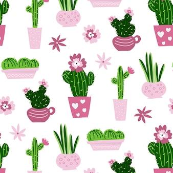 Cacti seamless pattern