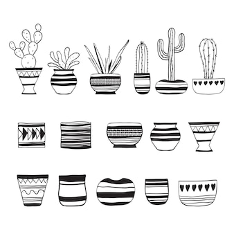 Cacti. set of plants and empty flower pots . vector doodle illustration.