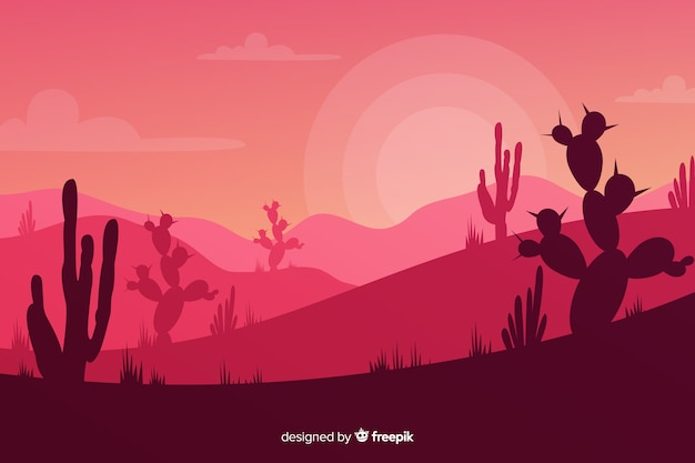Cacti silhouettes at the sundown