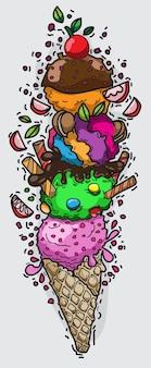 Cactoon hand drawn delicious ice creams