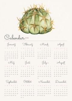 サボテン2022月間カレンダーテンプレート、水彩イラストベクトル