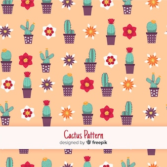선인장과 꽃 패턴