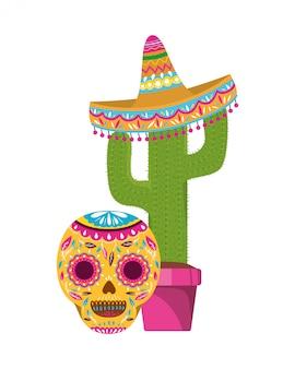 선인장과 멕시코 모자 아이콘 해골