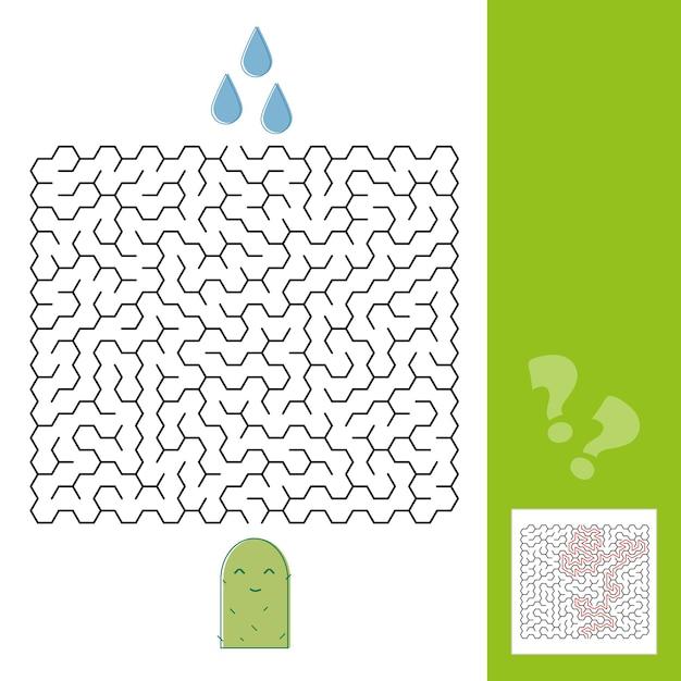 解決策を持つ若い子供のためのサボテンと水迷路ゲーム-ベクトルイラスト-線のスタイル