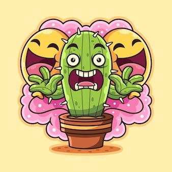 선인장은 풍선 만화로 무섭습니다. 재미있는 포즈와 식물 아이콘 개념