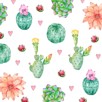 Cactus background in watercolor style