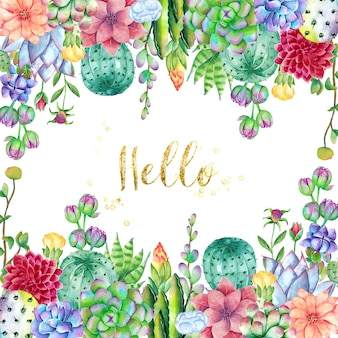 Cactus background with flowers  in watercolor style
