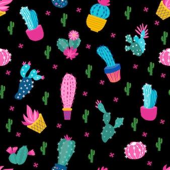 Cactus black background