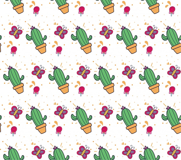 Cactus and butterfly background