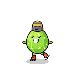 Cactus cartoon as an ice skating player doing perform , cute style design for t shirt, sticker, logo element