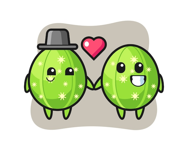 Cactus cartoon character couple with fall in love gesture