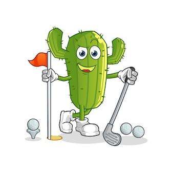 Cactus cartoon character playing golf