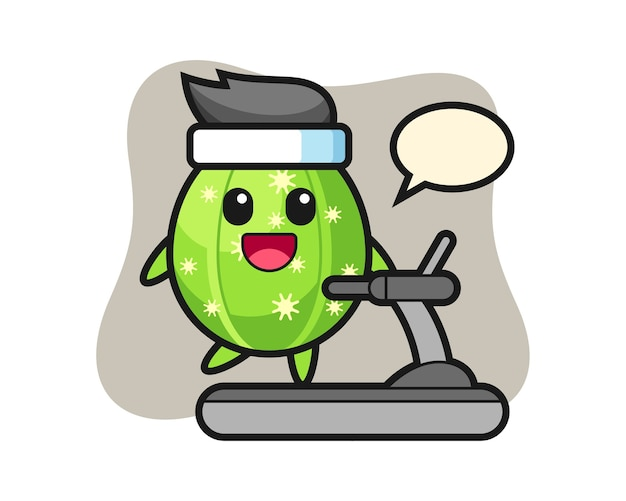 Cactus cartoon character walking on the treadmill