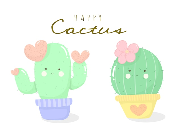Cactus cartoon cute happy succulent collection for kids