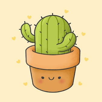 Cactus cartoon hand drawn style