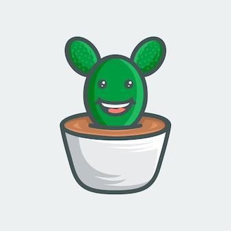 Cactus cartoon icon for logo template