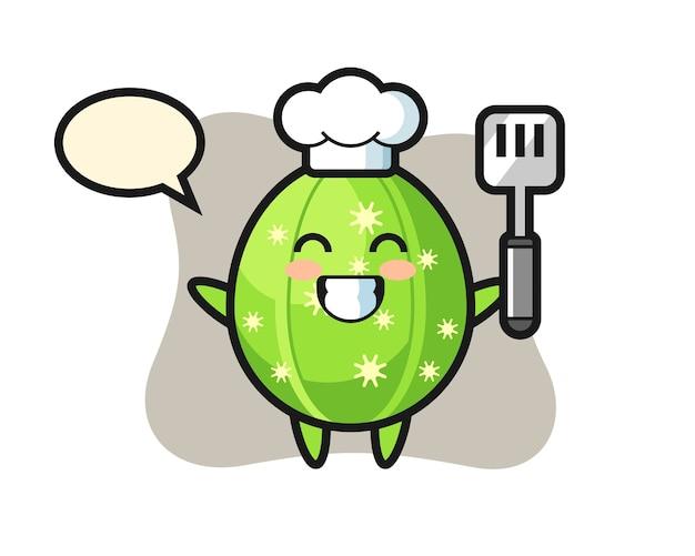 シェフが料理をしているサボテンのキャラクターイラスト