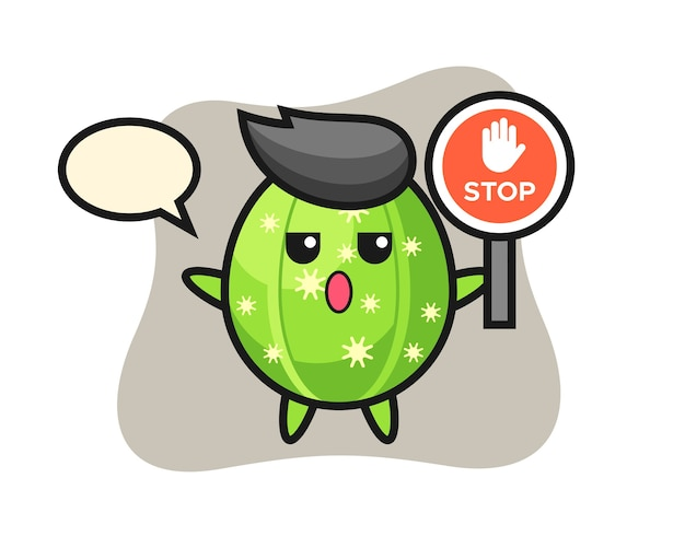 Cactus character illustration holding a stop sign