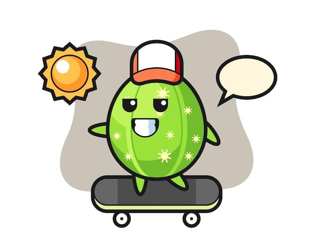 サボテンのキャラクターイラストがスケートボードに乗る