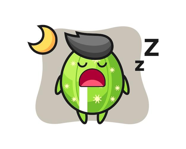 夜寝ているサボテンのキャラクターイラスト