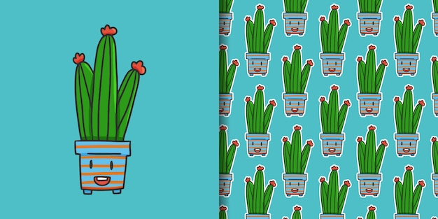 Cactus character and seamless pattern on blue