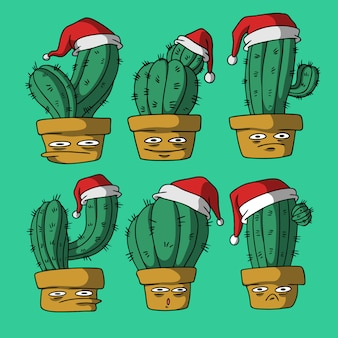 Cactus on christmas hand drawn