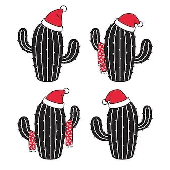 サボテンのクリスマスアイコンサンタクロースの帽子