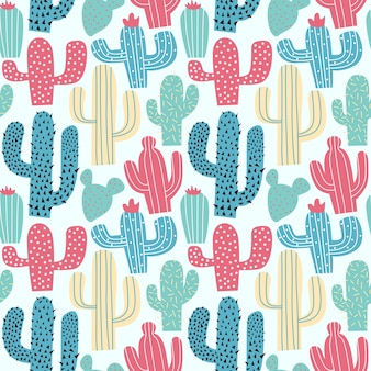Cactus colorful hand drawing seamless pattern