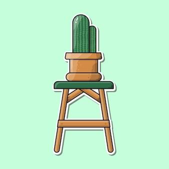 Изображение композиции кактуса на стуле бесплатные векторы