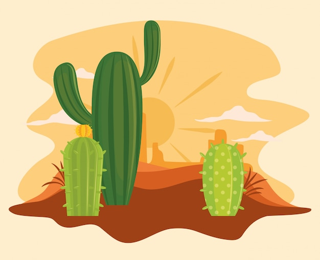 Cactus in desert scenery cartoon