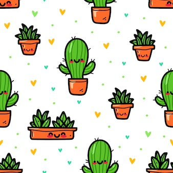 Cactus in doodle style seamless pattern