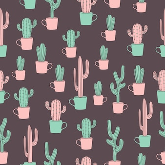 Cactus drawing seamless pattern with cute hand drawn