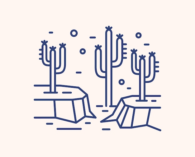 Cactus in dry desert landscape outline illustration. blue linear wild mexican landscape isolated on white
