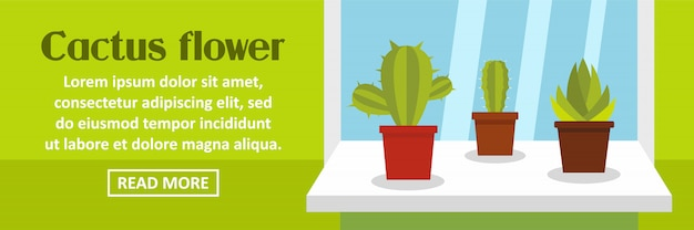 Cactus flower banner template horizontal concept