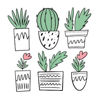 Cactus, flowers and other plants in white pots. set cartoon style. isolated.