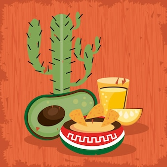Cactus and food mexican celebration