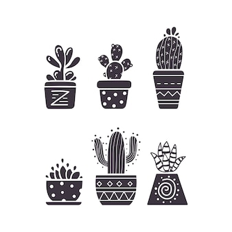 Cactus hand draw icons  on white background. home plants cacti and succulent set.
