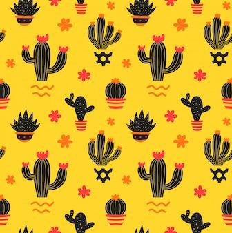 Кактус рука рисунок стиль красоты бесшовный фон. иллюстрация цвет бесшовные модели в желтом. кактус, сочный в горшке