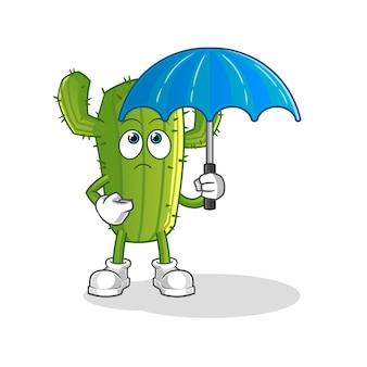 Cactus holding an umbrella character