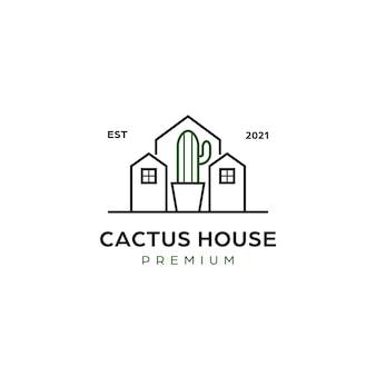 サボテンの家のロゴ、サボテンの植栽花屋ビジネスミニマリストラインアイコンのロゴ