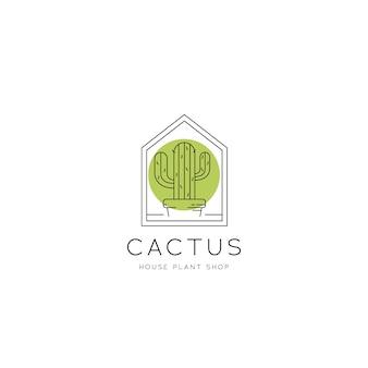 モノラインミニマリストスタイルのサボテン観葉植物とフラワーショップのロゴアイコン