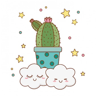 Cactus icon cartoon with clouds