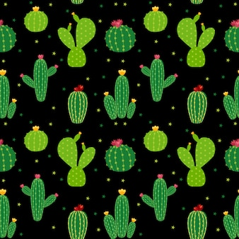 Cactus icon collection seamless pattern