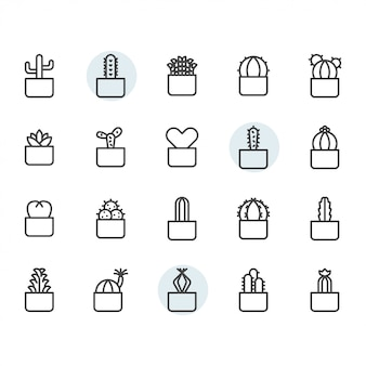 Cactus icon and symbol set in outline