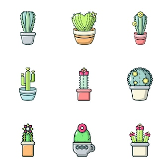 Cactus icons set, outline style