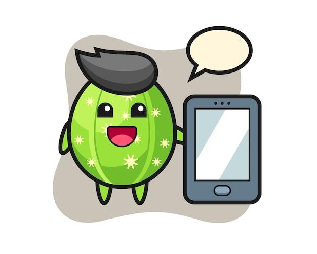 Cactus illustration cartoon holding a smartphone